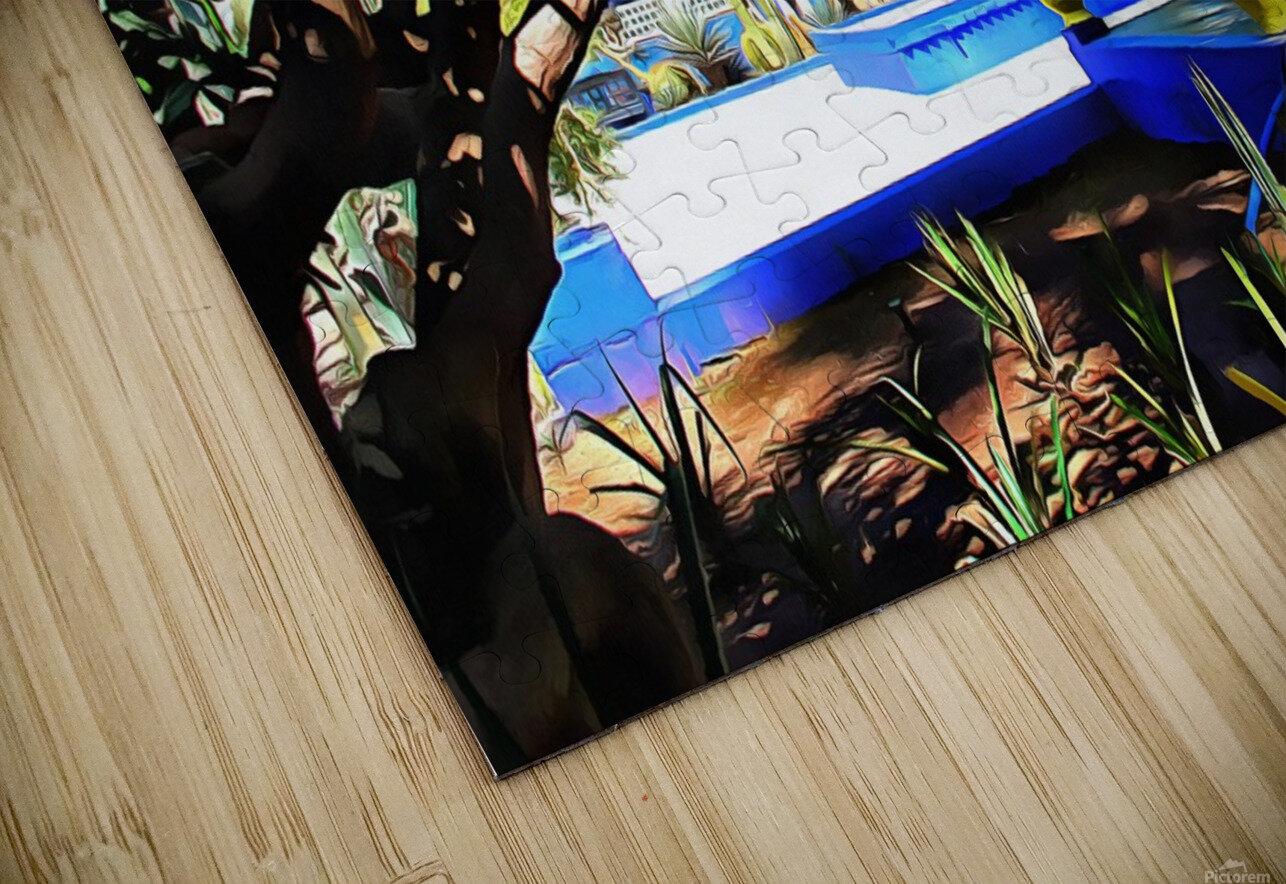 Yellow and Blue Contrasts Jardin Majorelle HD Sublimation Metal print