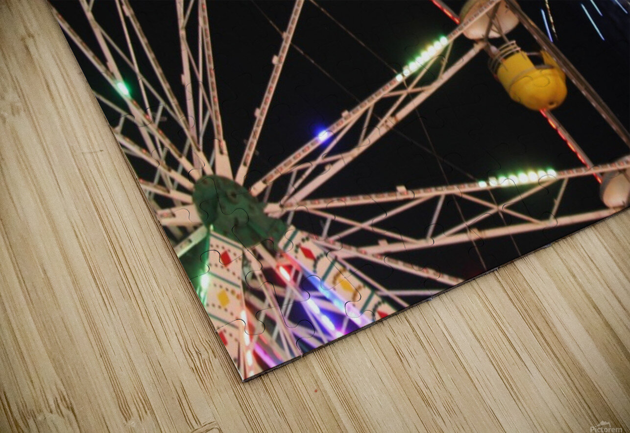 Ferris Wheel and Fireworks HD Sublimation Metal print