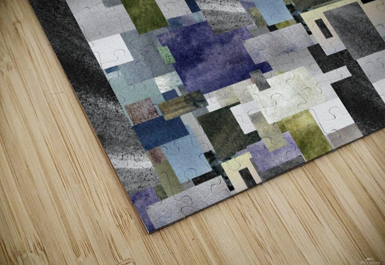 Gray Geometry Watercolor Geometrics Decorative Blocks XIV HD Sublimation Metal print