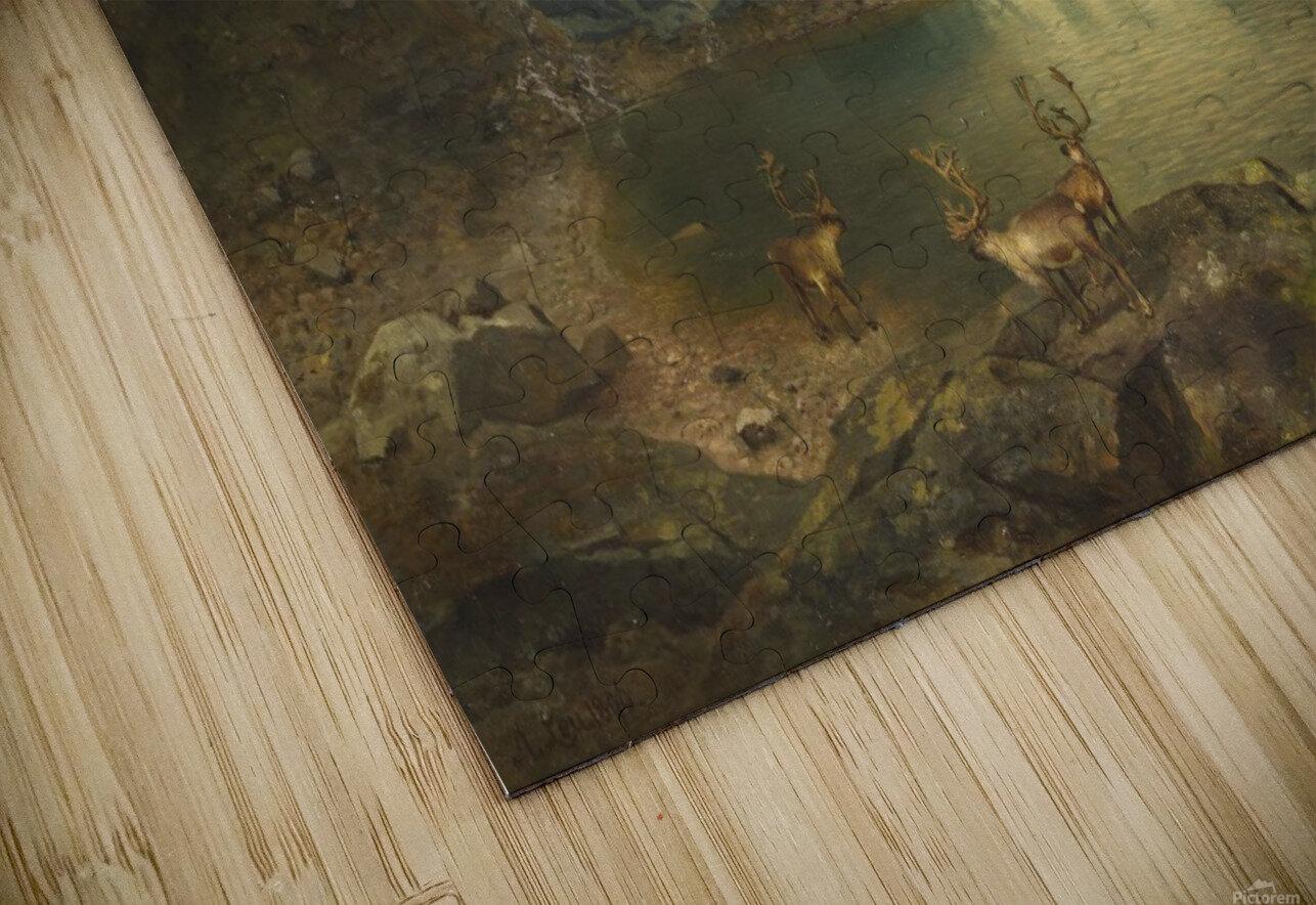 Fjordlandschaft mit Gletscher und Rentieren HD Sublimation Metal print
