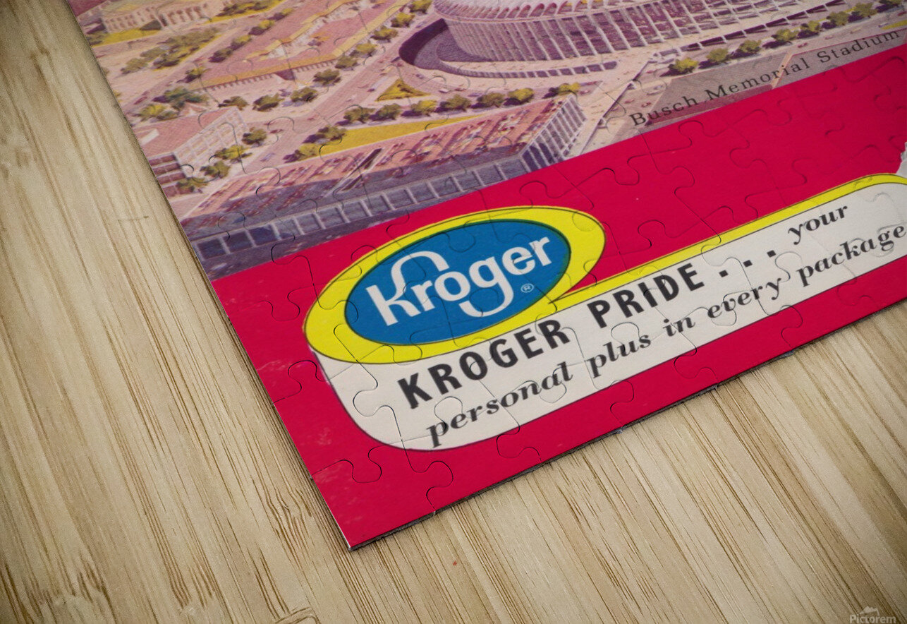 1966 St. Louis Cardinals Opening Game New Busch Stadium Scorecard Kroger Food Ad Poster HD Sublimation Metal print