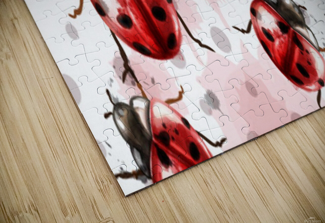 ladybugs pattern texture watercolor_ HD Sublimation Metal print