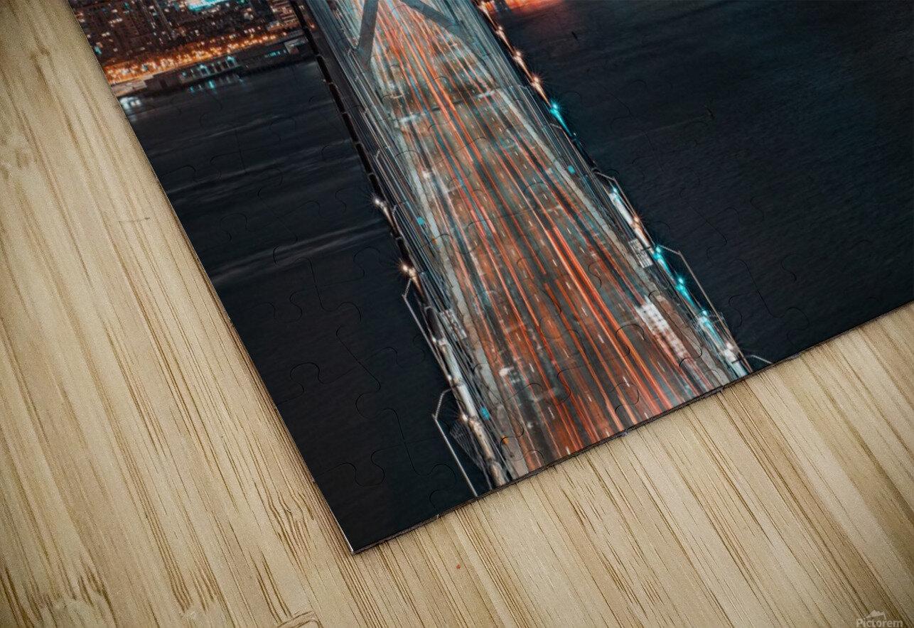 San Francisco Skyline at Night With The Bay Bridge HD Sublimation Metal print
