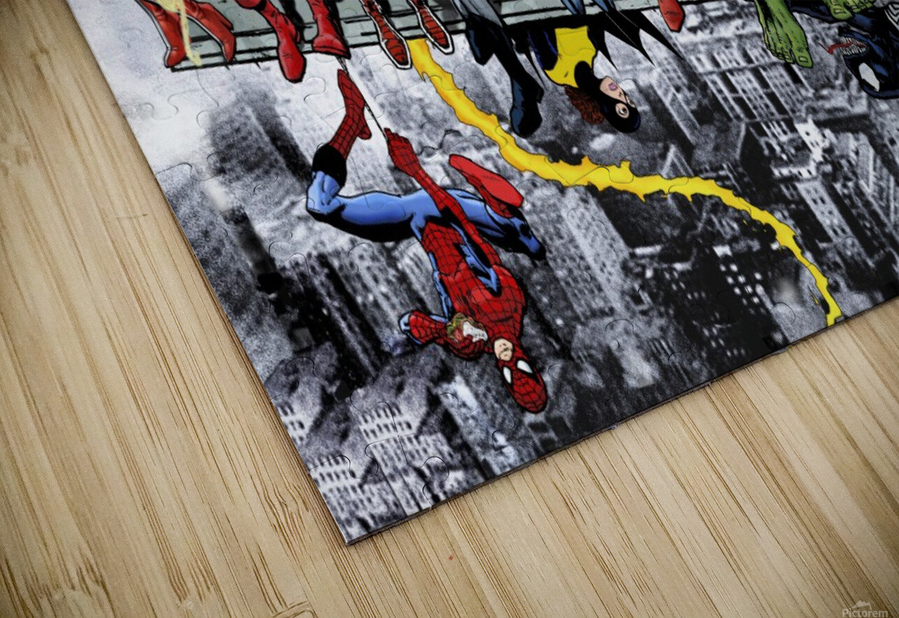 MORE Marvel DC Superheroes Lunch On A Skyscraper New Art Extra Heroes HD Sublimation Metal print