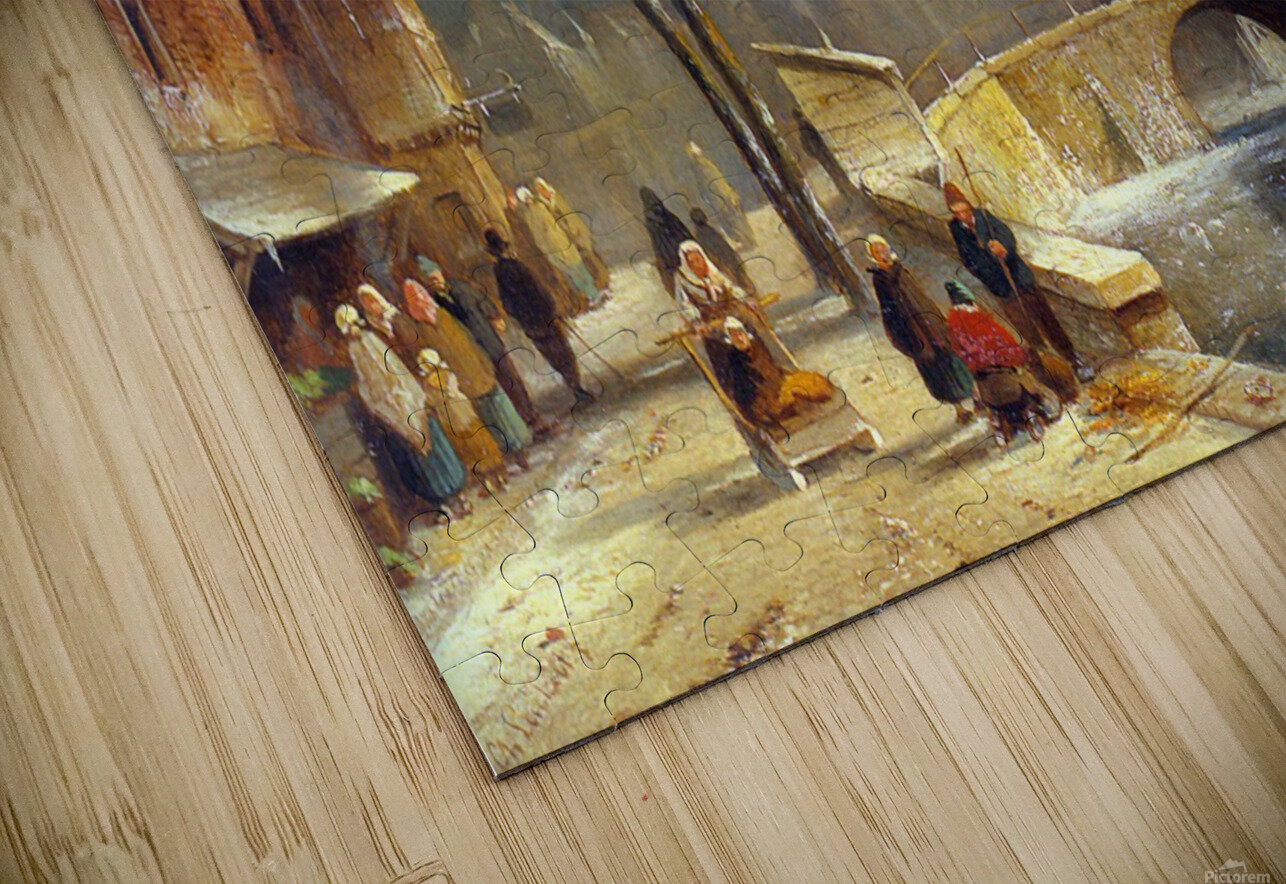 Winter villagers on a snowy street by a canal HD Sublimation Metal print