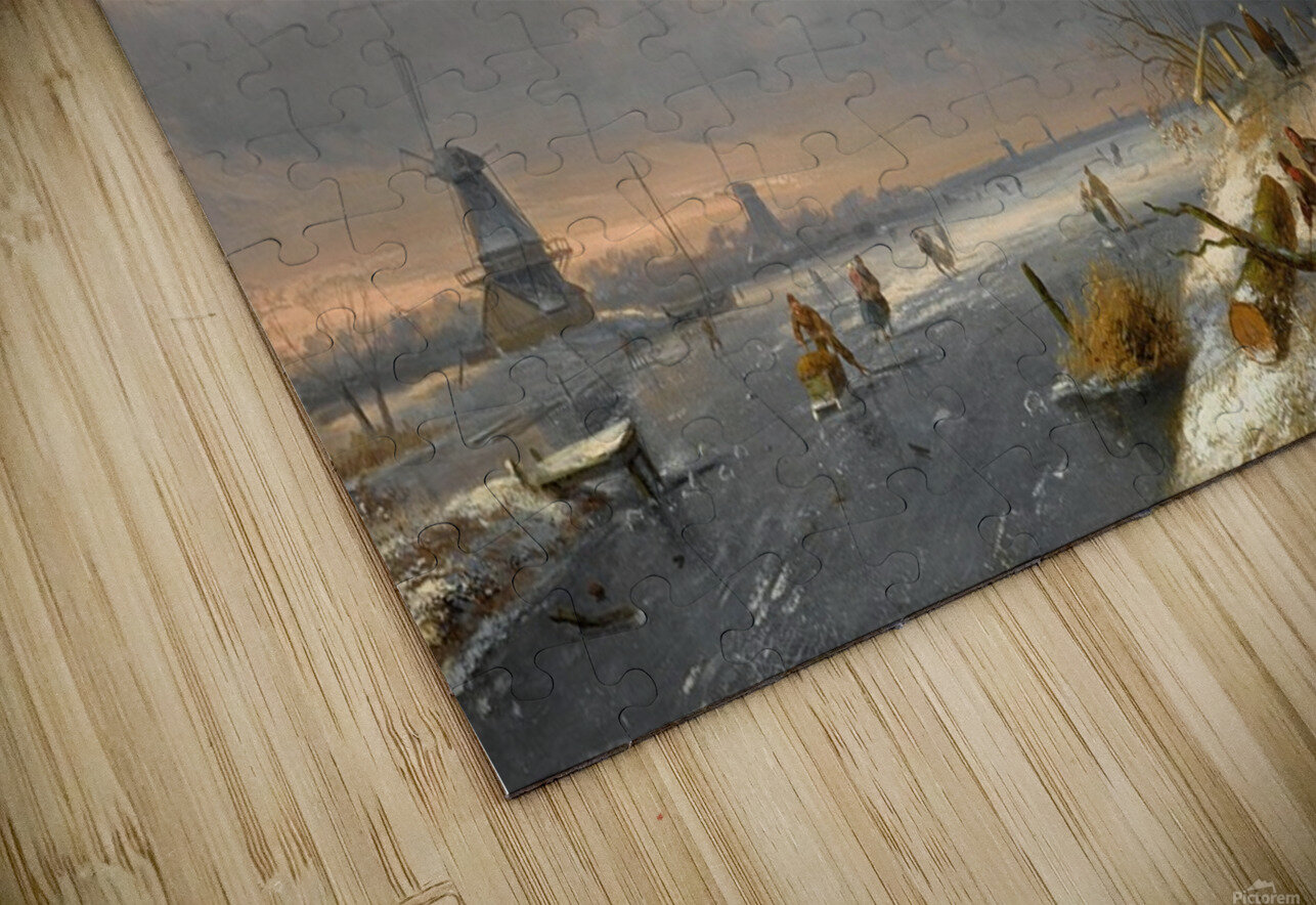 Winter landscape with figures and windmills HD Sublimation Metal print
