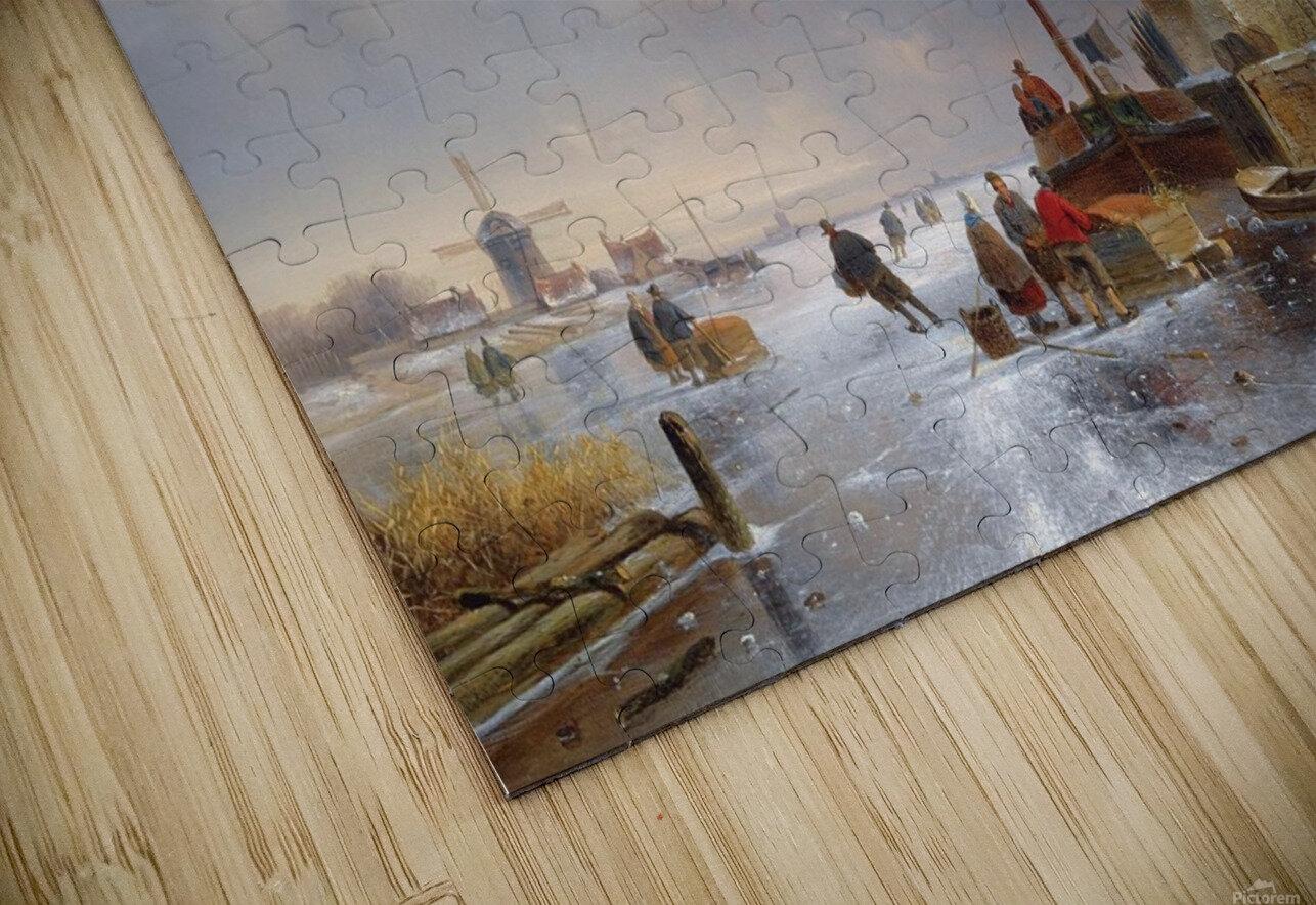 Townsfolk on lake during winter HD Sublimation Metal print