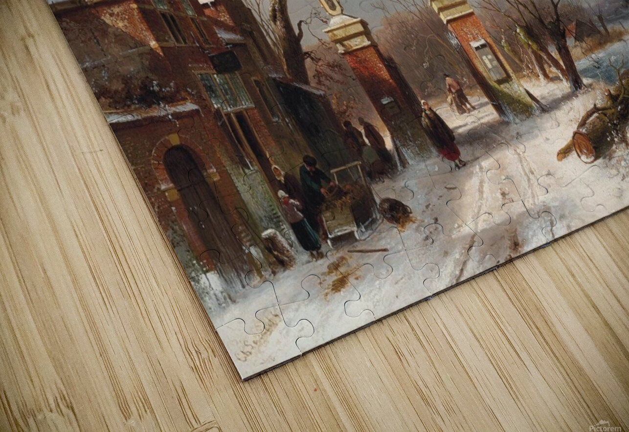 Skaters by a Dutch hamlet HD Sublimation Metal print