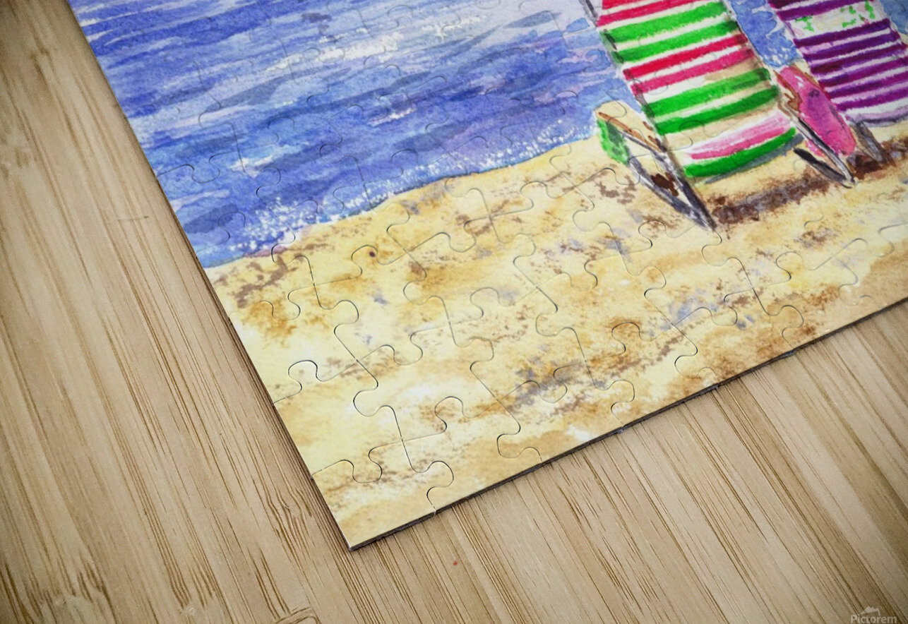 Two Chairs On The Beach HD Sublimation Metal print