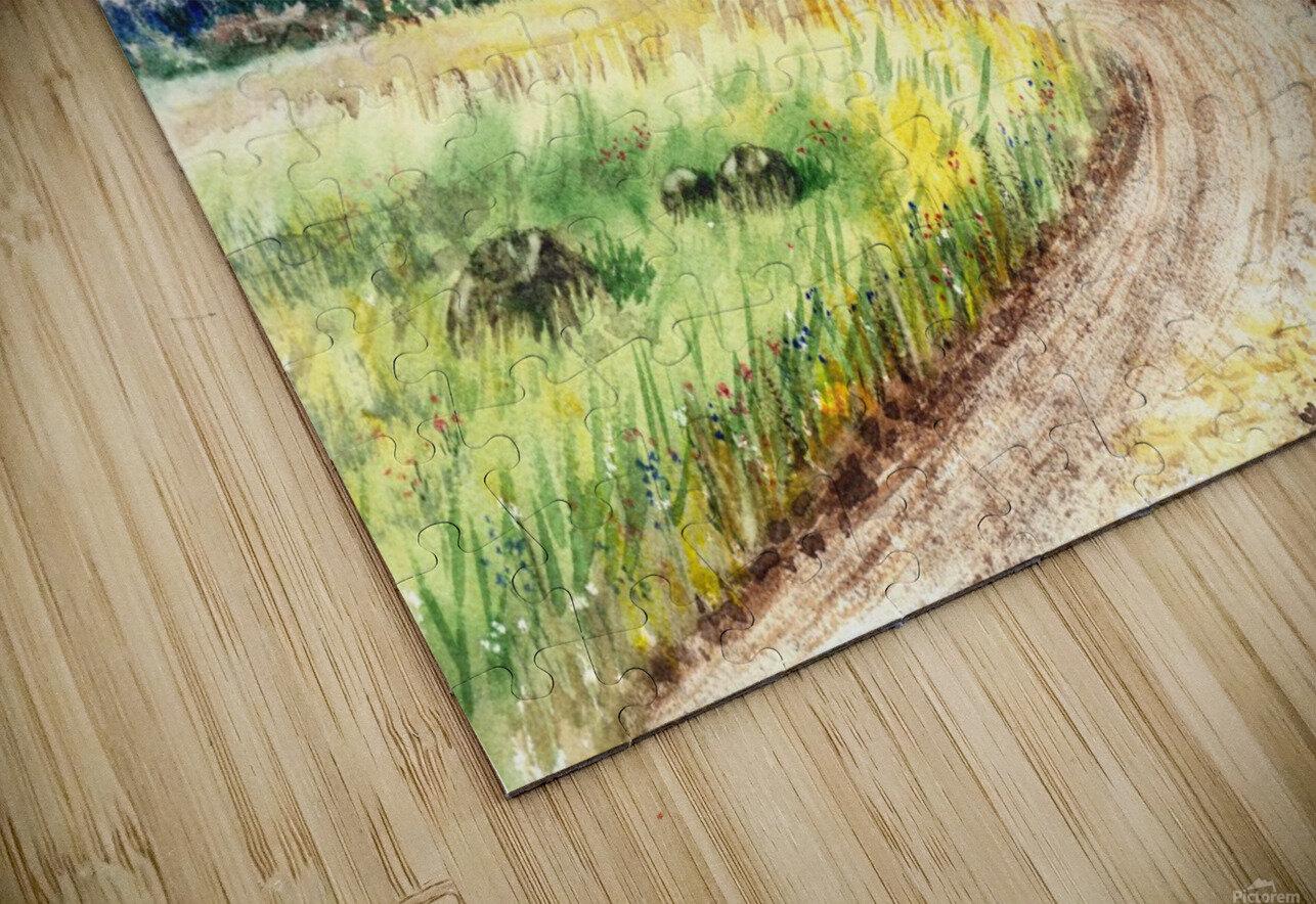 Farm Road The Mountains landsape HD Sublimation Metal print