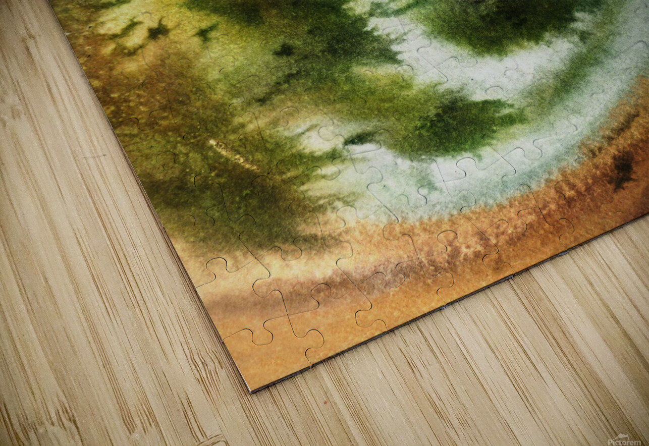 Fall Vortex Of Green Yellow Orange And Brown Abstract Watercolor  HD Sublimation Metal print