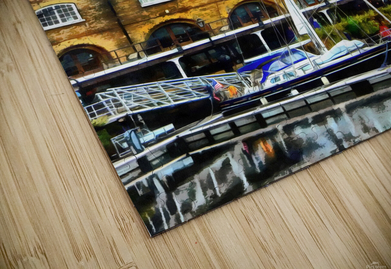 Boats in Front of Clock Tower St Katharine Docks HD Sublimation Metal print