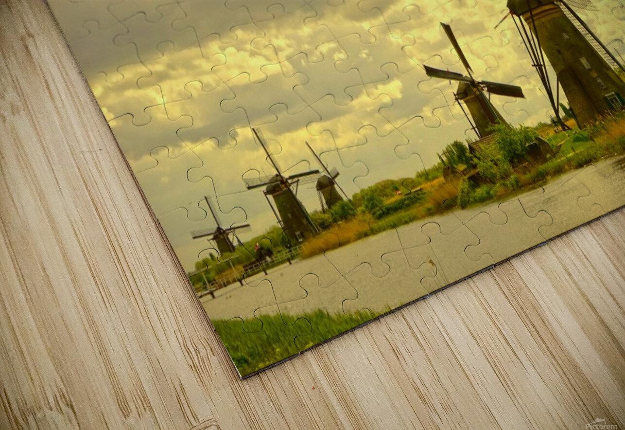 Windmills at Sunset - Netherlands HD Sublimation Metal print