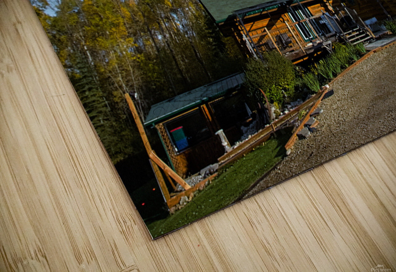 Nightscape Over Log Cabin HD Sublimation Metal print