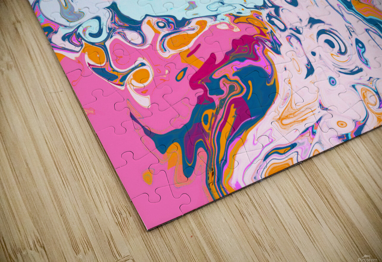 Baby Blue and Pink Paint Pour HD Sublimation Metal print