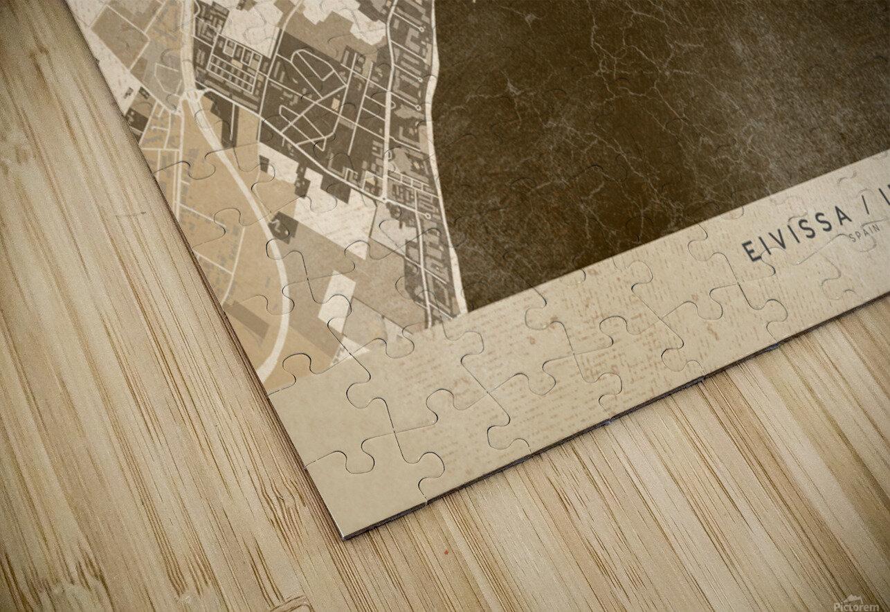 Sepia vintage map of Ibiza Spain HD Sublimation Metal print