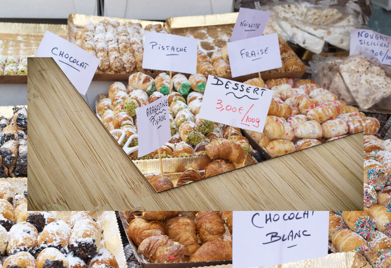 Desserts at market in France HD Sublimation Metal print