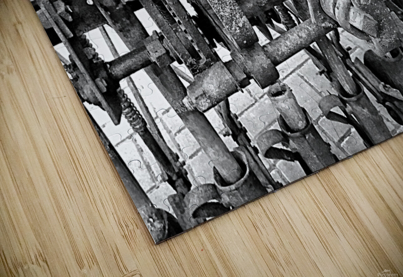 Antique Ploughing Machinery Black and White HD Sublimation Metal print