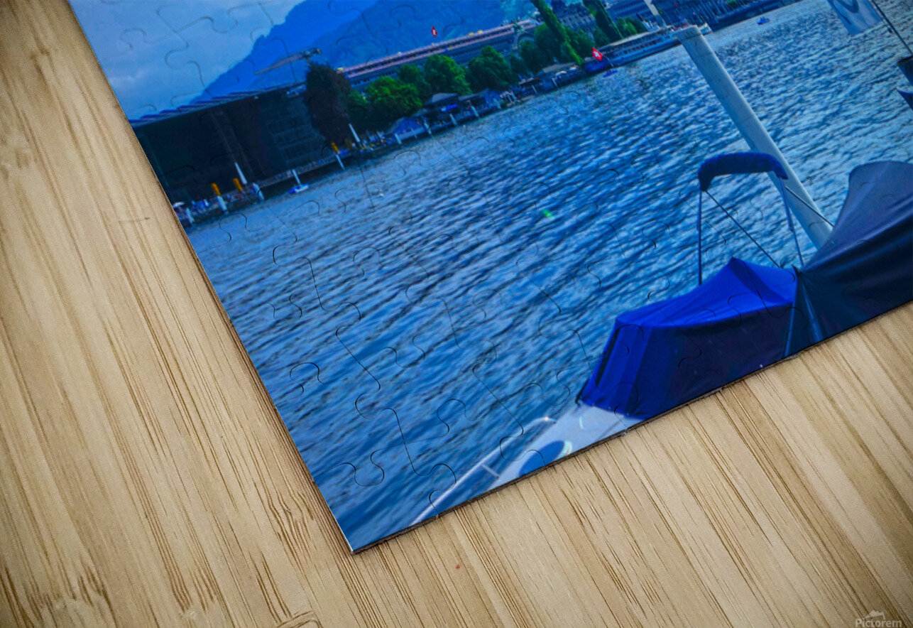 Blue Day Mount Pilatus on the Shores of Lake Lucerne   Central Swiss Alps HD Sublimation Metal print