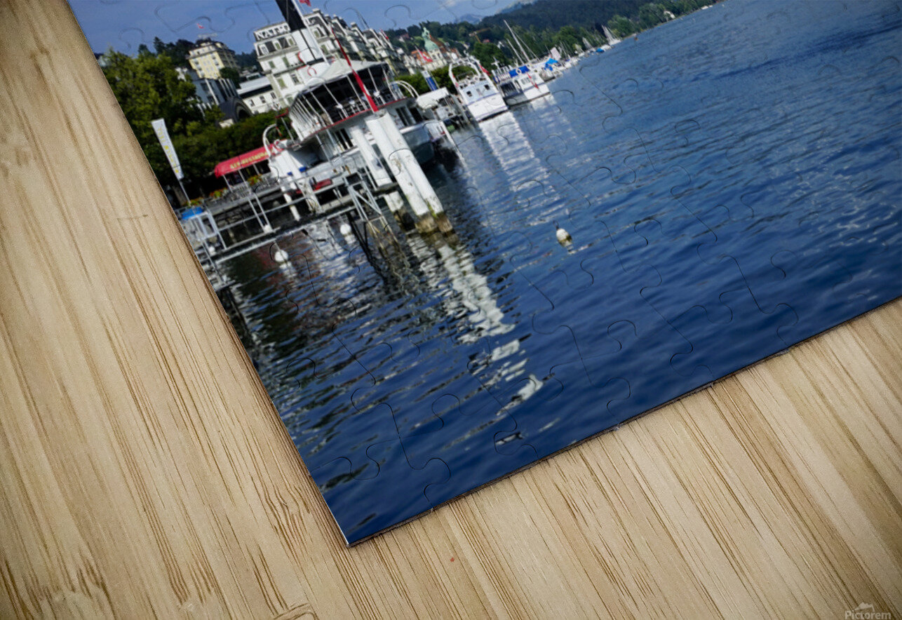 On the Shores of Lake Lucerne HD Sublimation Metal print