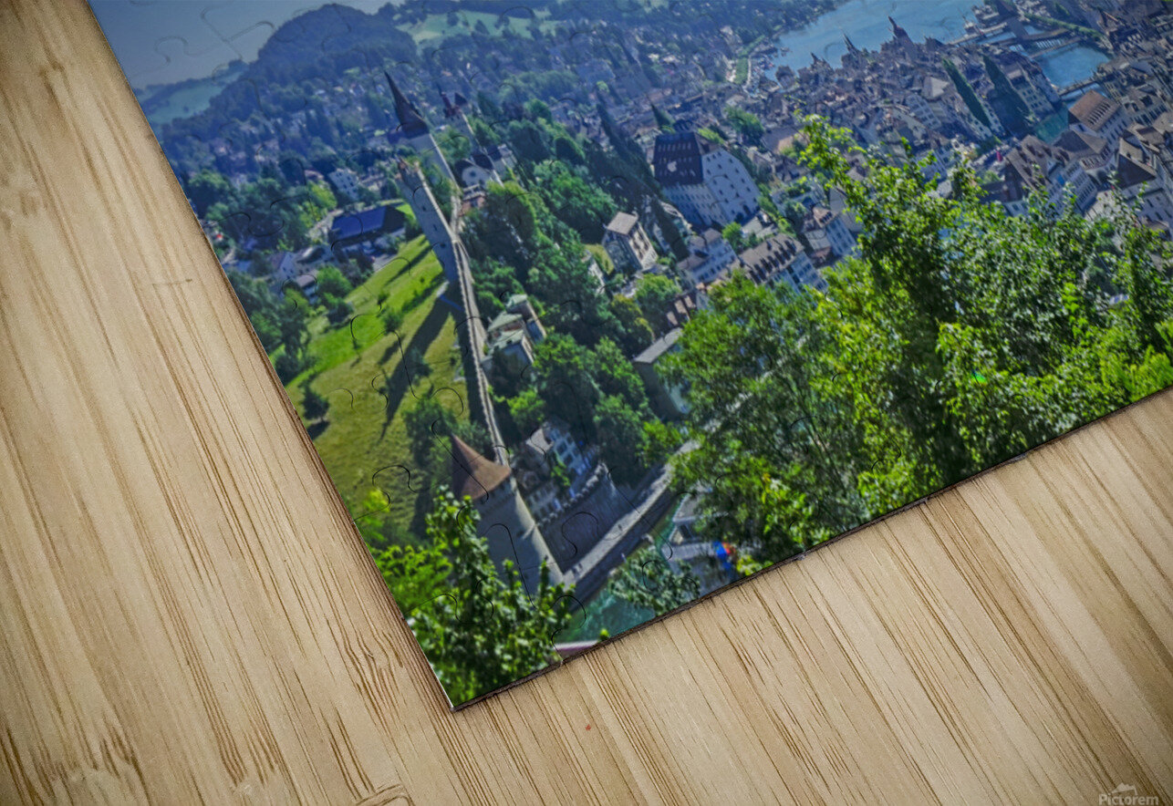 Stunning View Musegg Wall to Chapel Bridge to Lucerne and the Alps   Lucerne Switzerland HD Sublimation Metal print