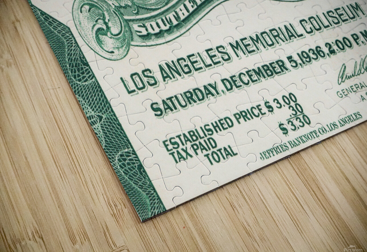 1936 Notre Dame vs. USC Football Ticket Art HD Sublimation Metal print