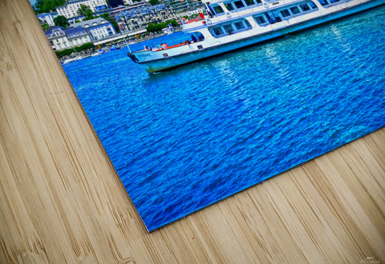 Cruise Boat On Lake Lucerne with City in Background in Switzerland HD Sublimation Metal print
