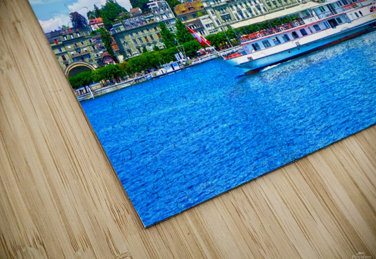 Old Town along the Coast in Lucerne Switzerland HD Sublimation Metal print