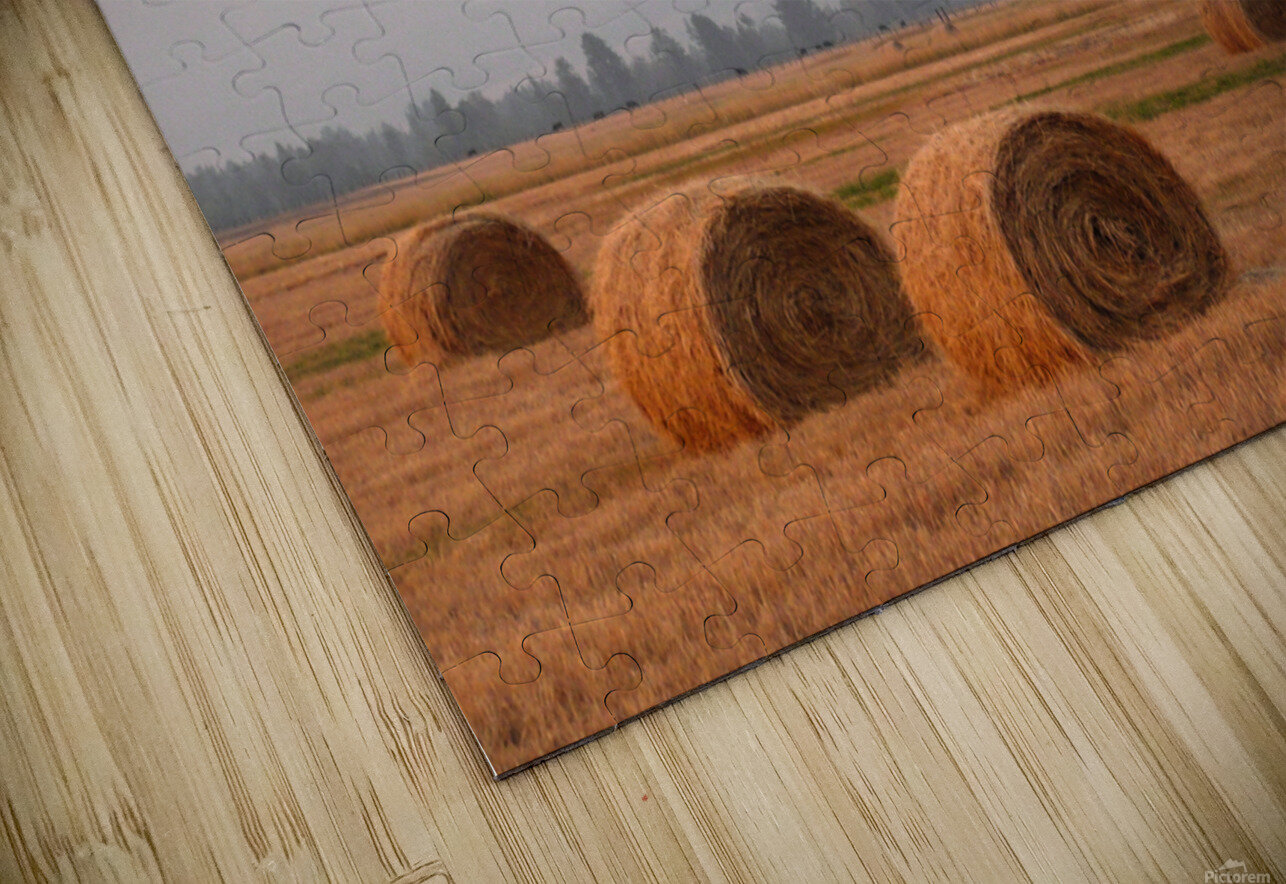 Haybales in a Haze HD Sublimation Metal print