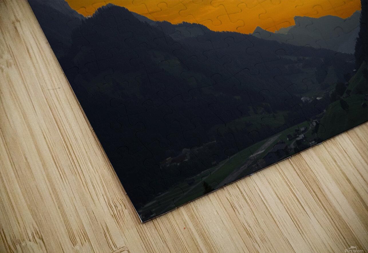 Sunset in the Saanen Valley in Switzerland HD Sublimation Metal print