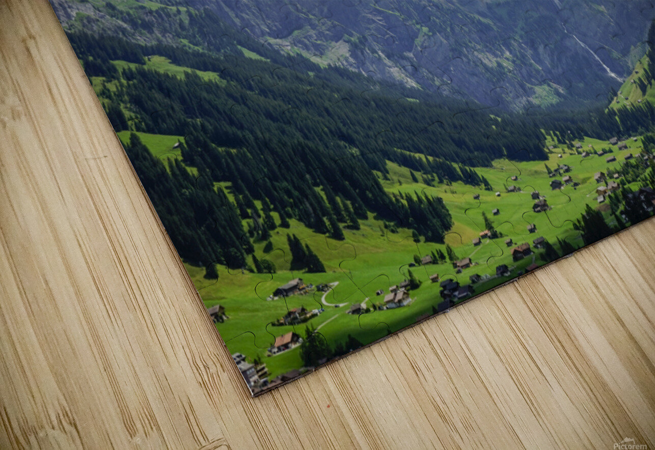 Beautiful Day in the Valley and Mountains of Adelboden Switzerland HD Sublimation Metal print