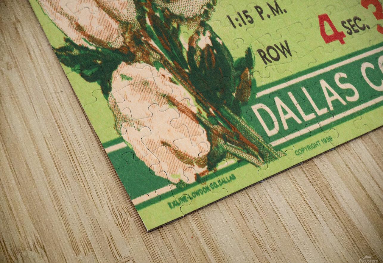 1941 Fordham vs. Texas AM Cotton Bowl Ticket Art HD Sublimation Metal print