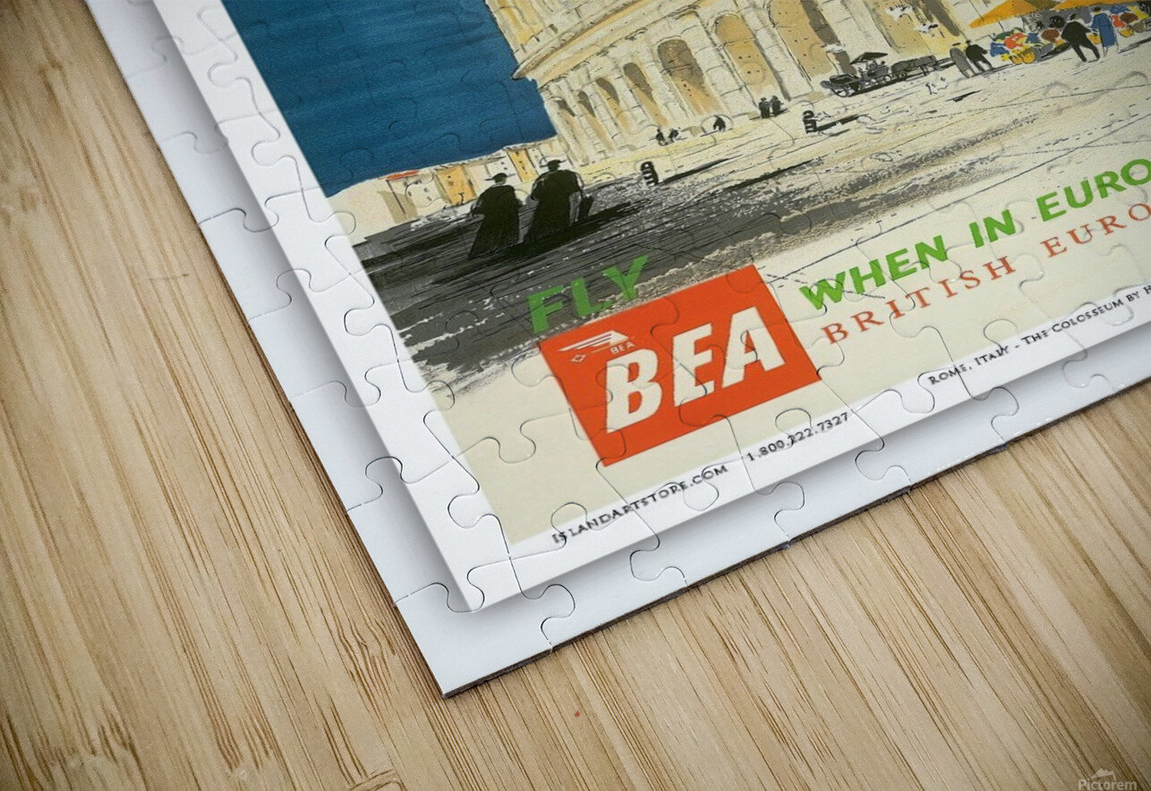 British European Airways travel poster for Rome HD Sublimation Metal print