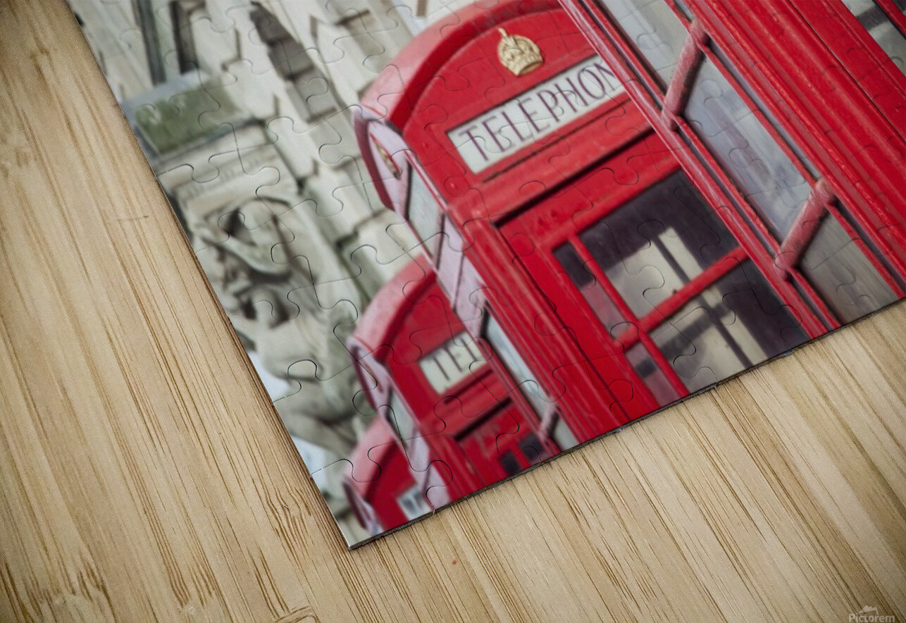 Telephone boxes in a row; Blackpool, Lancashire, England Impression de sublimation métal HD