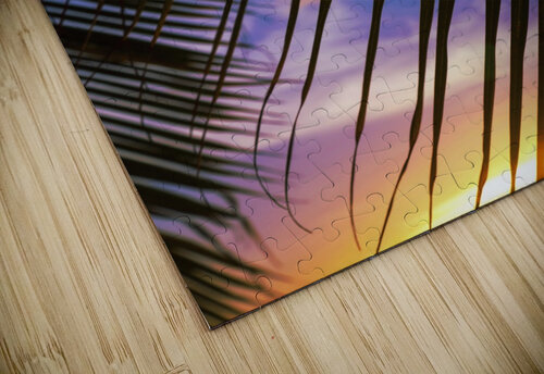 Close-up of silhouetted palm fronds with beautiful sunset color sky in the background; Honolulu, Oahu, Hawaii, United States of America jigsaw puzzle