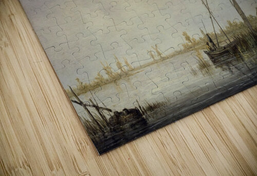 A River Scene with Distant Windmills jigsaw puzzle