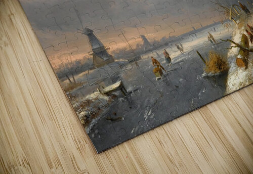 Winter landscape with figures and windmills jigsaw puzzle