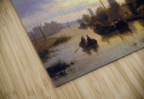 Mills at the Schie at dusk Sun jigsaw puzzle