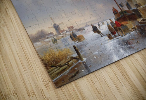 Townsfolk on lake during winter jigsaw puzzle