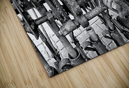 Antique Ploughing Machinery Black and White jigsaw puzzle