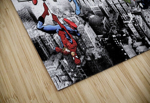 Marvel and DC Superheroes Lunch Atop A Skyscraper Featuring Captain America Iron Man Batman Wolverine Deadpool Hulk Flash & Superman jigsaw puzzle