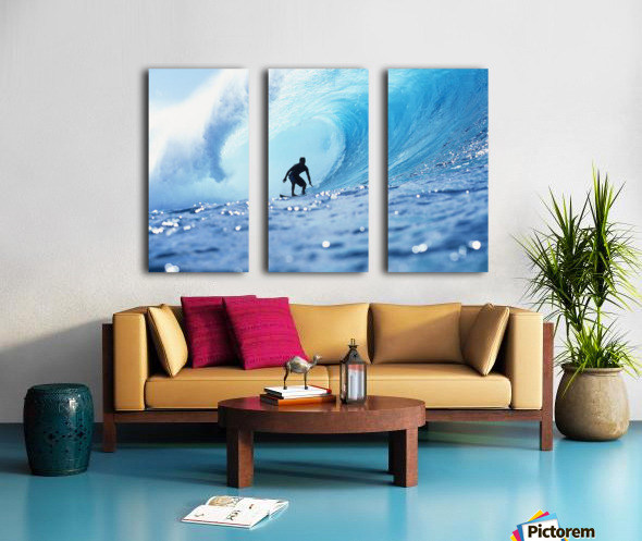 Hawaii, Oahu, North Shore, Silhouette Of Surfer In Pipeline Barrel Split Canvas print