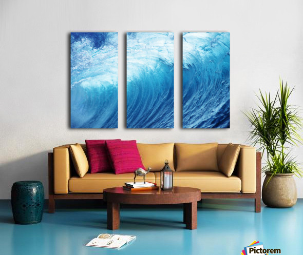 Inside Glassy, Blue Wave Curling Over, Closeup Split Canvas print