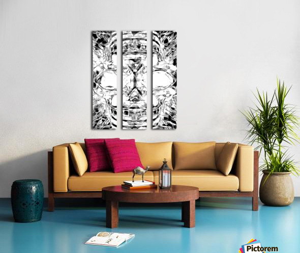 psychedelic skull art geometric triangle abstract pattern in black and white Split Canvas print