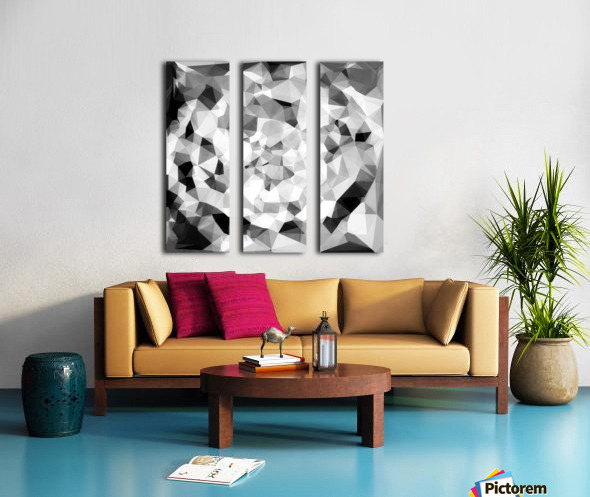 geometric polygon abstract pattern in black and white Split Canvas print