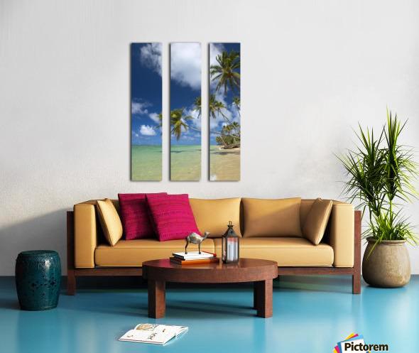 Hawaii, Palm Trees Lean Over Beach, Calm Turquoise Ocean, Dramatic Sky. Split Canvas print