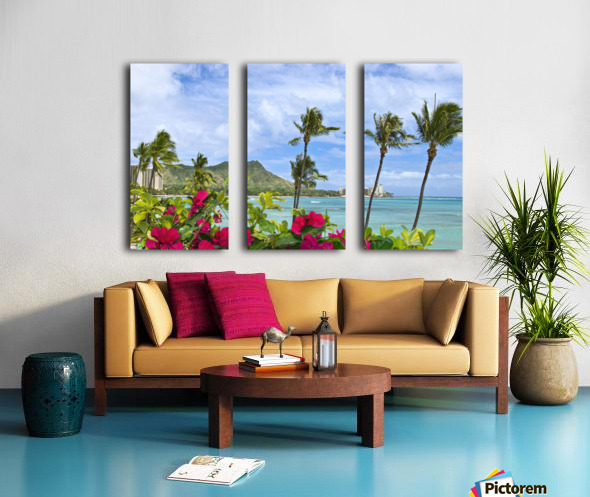 Hawaii, Oahu, Diamond Head, Waikiki, Palm Trees And Bougainvillea Foreground. Split Canvas print