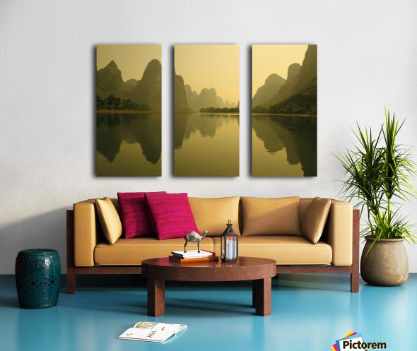 China, Guilin, Piled Silk Mountains, Li River With Reflections In Water A72H Split Canvas print