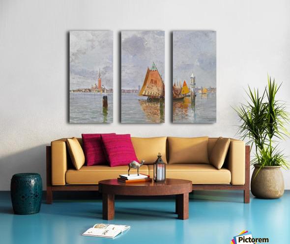 Fishing boats in Venetian lagoon Split Canvas print