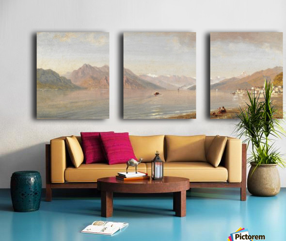 Lake view with mountains in the back Split Canvas print